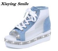 Xiaying Smile Woman Sandals Women Shoes Summer Platform Wedge Canvas Shoe Style Fashion Cool Air Mesh Bling Crystal Rubber Shoes $29.98