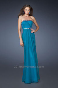 Ruched Bodice Teal Strapless Floor Length Prom Dress Online  http://www.2014partydresssale.com/