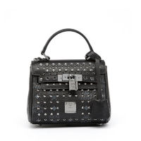 MCM Mini Ketty Diamond Visetos Satchel In Black