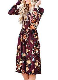 Women's Long Sleeve Floral Pockets Casual Swing Pleated Dress $38.99