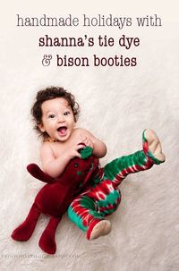 Holiday Flannel Tie Dye Bison Booties Size 0 to 6 by BisonBooties & Shanna's Tie Dye