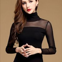 New Women Blouse Shirt Black White Sexy Long Shirt Casual Long Sleeve Lace Blouse Under Shirts Hollow Tops For Woman Plus Size $23.00