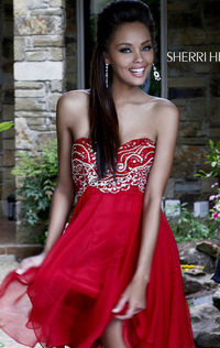 Sherri Hill 3880 Beaded Short A-Line Homecoming Dresses 2015 Strapless Red Chiffon