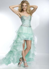95004 Mint Beaded Ruffled High Low Cocktail Dress