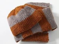 Knitting Pattern: Smoky Stripes Beanie Hat and Scarf SKILL LEVEL: Easy + SIZE: One Size