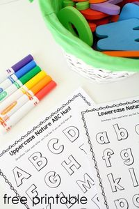 Practice letters and sounds with this fun outdoor ABC hunt for kids. Toddlers can practice with the letters only. Preschoolers and kindergarteners will have fun