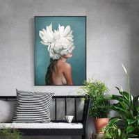 Nude Oil Paintings on Canvas Original art Lady with Feather portrait painting extra Large Nordic Wall Picture cuadros abstractos home decor $439.00
