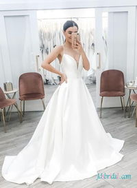 H0469 Simply spaghetti straps sweetheart ball gown wedding Search the site for Model No., link in bio