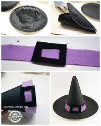 Making a paper plate witch hat is super simple and they make really great table decorations for a Halloween party!