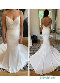 H0543 Sexy low back spaghetti straps mermaid wedding dress Model: H0543(Worldwide Free shipping)