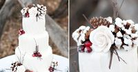 gorgeous winter wedding cake with red berry, twig and pine cone accents on a white cake or red/blue velvet