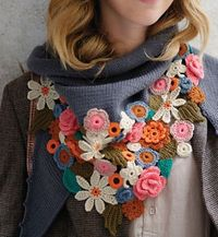 crochet flower scarf, crochet flowers and scarves.
