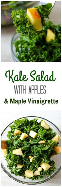 Kale Salad with Apples and Homemade Maple Mustard Vinaigrette: A simple salad with a sweet and tangy dressing and fresh apples.
