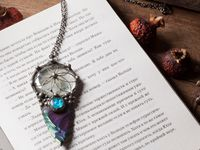 Pendant with natural stone - indian agat and stain glass. Arrow Pendant - Arrowhead - Druid - For Men and Women Shamanic Jewelry $48.50
