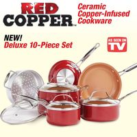 Red Copper Ceramic Cookware Set - 10 pc - Acoutlet~~$94.95 FREE SHIPPING