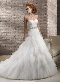 Elegant A-line Sweetheart Chapel Train Tulle Wedding Dress with Beaded Appliques