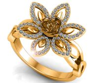 18K Flower Ring Lotus Ring Diamond Leaves Ring Celtic Ring Open Flower Ring $1630.00