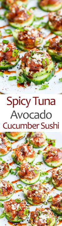Light and healthy spicy tuna 'sushi' with seasoned tuna on cucumber slices along with cool and creamy avocado!