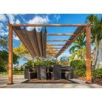 Paragon 11 ft. x 16 ft. Aluminum Pergola with The Look of Canadian Wood and Cocoa Canopy-PR16WD1C - The Home Depot
