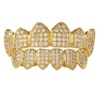 Gold Plated Cubic Zirconia Studded Vampire Fang Grillz £39.95