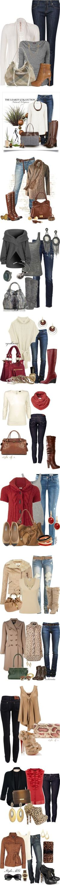 fall outfits...these make me wish I could wear jeans to work. :)