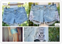 how to make cute denim shorts with lace from old jeans