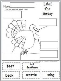 Free Label The Turkey Parts activity for November, harvest time, or Thanksgiving.