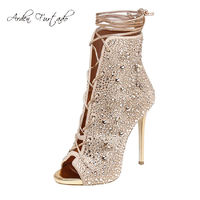 2017 Strappy ankle boots high heels peep toe crystal shoes sandals handmade ankle strap Custom Women Party Dress Stiletto Summer