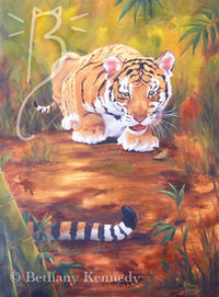Tiger Cub oil painting