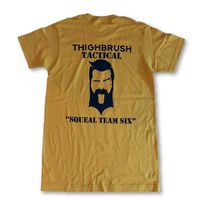 """THIGHBRUSH TACTICAL - ARMED FORCES COLLECTION - """"Squeal Team Six"""" Men's T-Shirt - Gold and Navy Blue $25.00"""