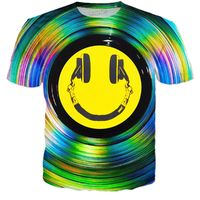 ROTS Headphone Smiley Face On Color Vinyl Record Adult T-Shirt $25.00