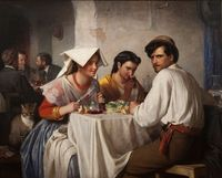 "Carl Heinrich Bloch (1834�€""1890) In a Roman Osteria, 1866, oil on canvas. Statens Museum for Kunst"