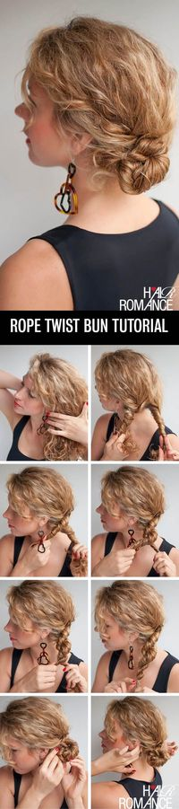 I'm always experimenting with quick ways to tidy up my curls on the second (or third) day. This rope twist bun hairstyle is a cute variation on a regular side b