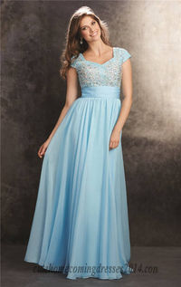 Madison James 15-225M Beaded Short Sleeves Long Prom Gown