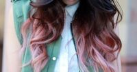 Faded pink on dark hair.