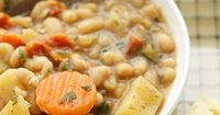 White Bean Soup -use this recipe as your base and add more veggies or herbs to suit your taste. I love thyme in my bean soup! Hearty, filling and loads of plant protein and fiber.