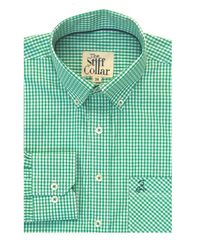 Bottle Green Gingham Button Down Polo Shirt �'�1499.00