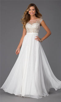 Long White Sparkly Top CD-1105 Prom Dresses 2015