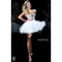 Ivory/Multi Sherri Hill 21001 - Ball Gowns Crystals Sequin Dress - Customize Your Prom Dress