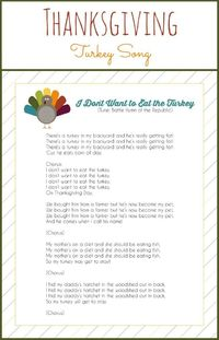 Thanksgiving Song ~ Kids will love singing the I Don't Want to Eat the Turkey. This cute Thanksgiving song for kids will be fun for the whole family.