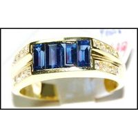 Diamond For Men Blue Sapphire Ring Natural 18K Yellow Gold [RQ0022]