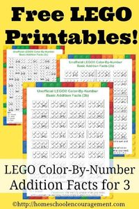 Download a 3-page worksheet set of LEGO Color-By-Number printables!