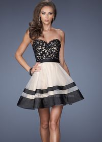La Femme 19928 - Nude/Black Strapless Lace Short Prom Dresses Online- this is a pretty epic dress.