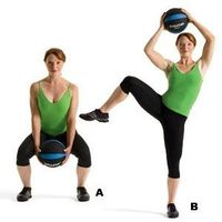 Works: arms, core, and entire lower body Standing with your legs wider than shoulder-width apart, hold a medicine ball in front of your body. Squat until your t