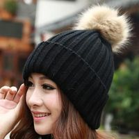 Knitted Faux Fur Pom Poms Women Cap $11.02