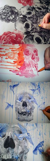 These are beautiful. Mixed media, including ballpoint pen
