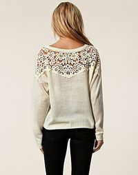 Open lace back. Sweater fashion beige trend women outfit spring