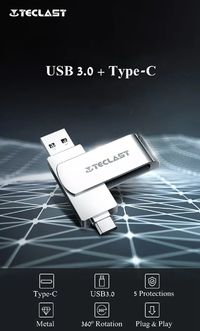 Teclast 2-in-1 USB 3.0 Type-C 64GB 128GB OTG Flash Drive U Disk For Type-C Smart Phone Laptop Samsung Huawei MacBook
