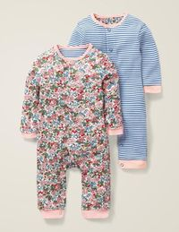 Floral Twin Pack Rompers - Chalky Pink Flower Berry $52