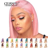 Pink Bob Lace Front Wigs Human Hair Pre Plucked 613 Blonde Blue Red Grey Green Straight Ombre Short Bob Wigs For Black Women $182.52
